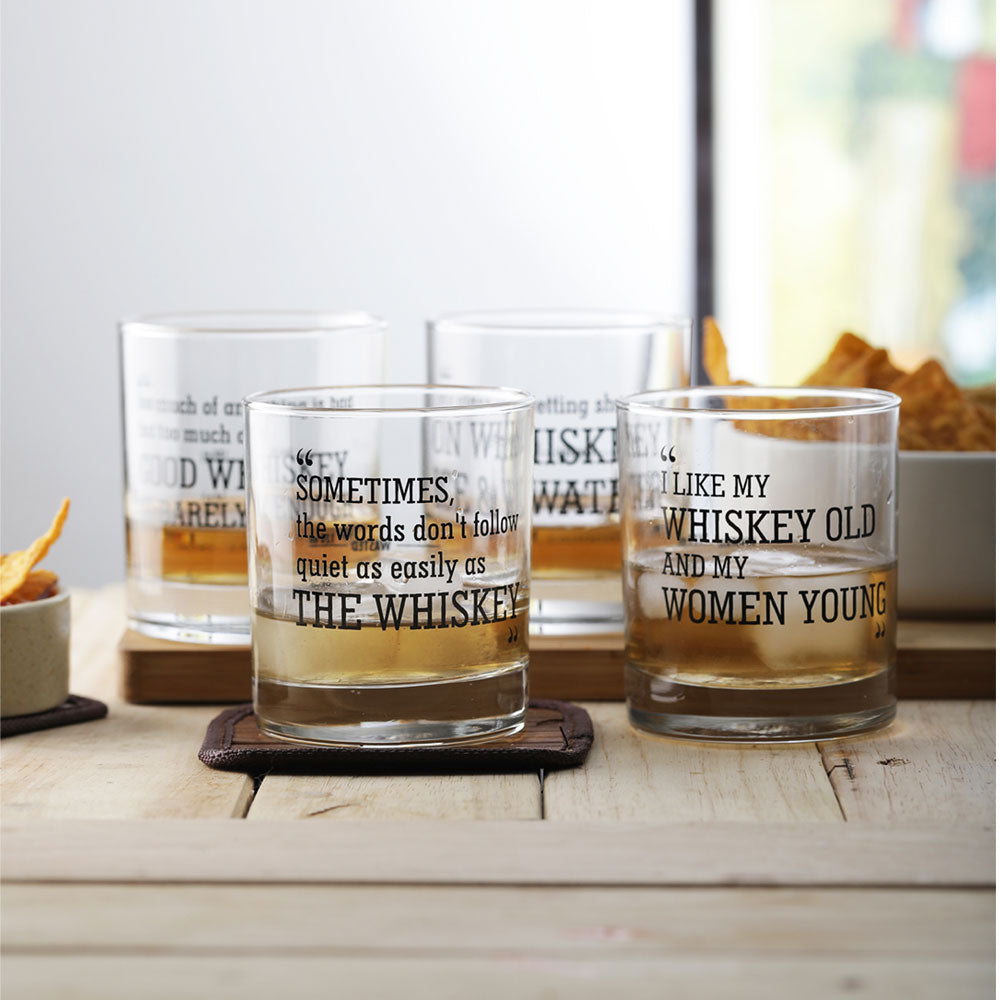 Whiskey Quote Glasses (set of 4)