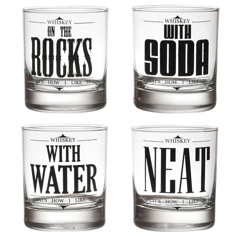 ROCK NEAT SODA WATER WHISKEY GLASS SET OF 4