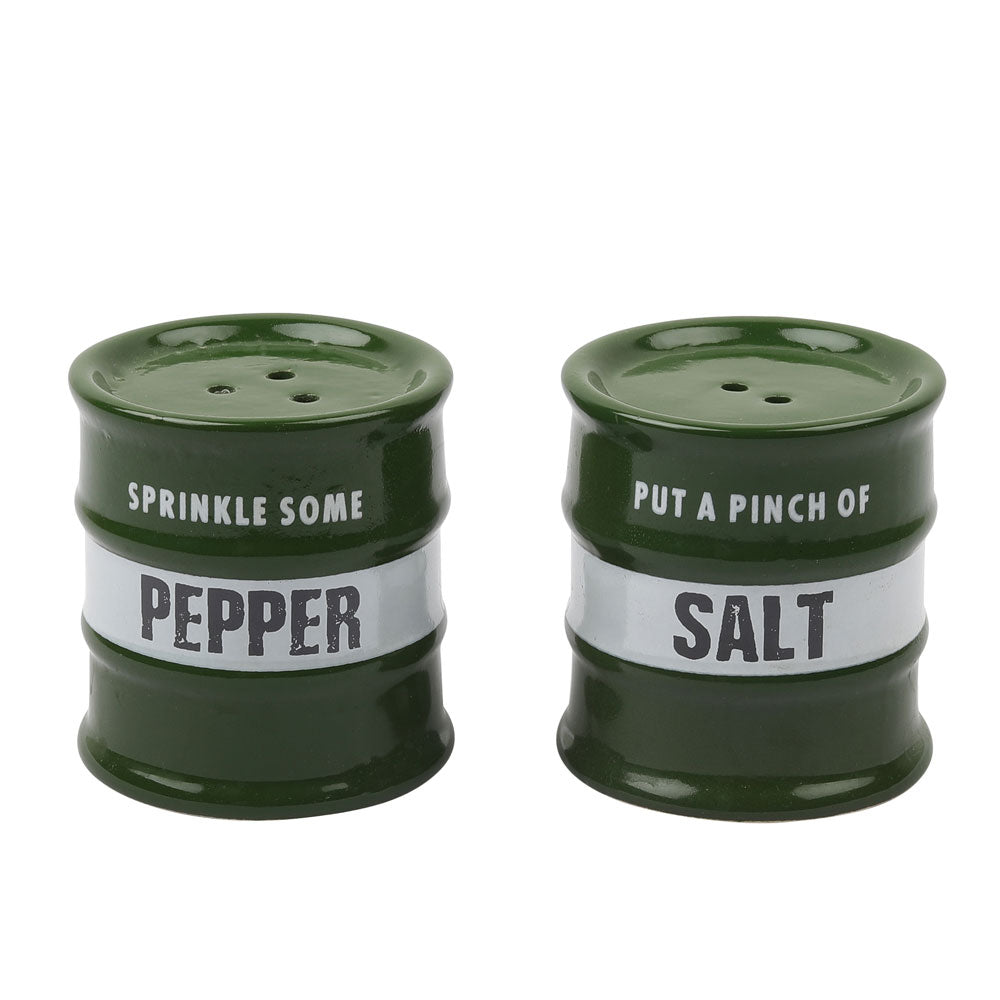 Barrel Salt &  Pepper Dispensor Green (set of 2)