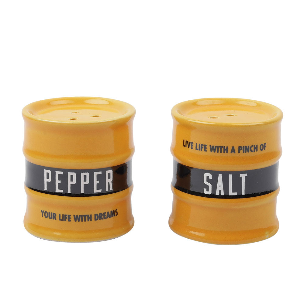 Barrel Salt &  Pepper Dispensor Yellow (set of 2)