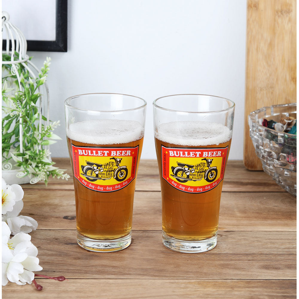 Bullet beer glasses set of 2