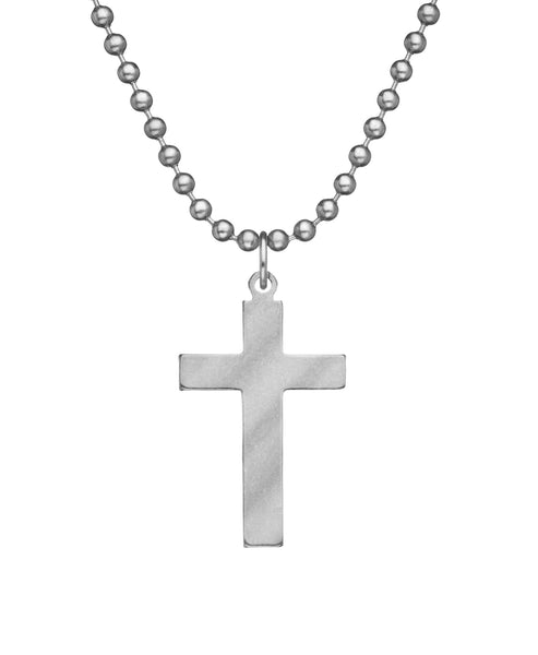 GI JEWELRY Military Issue Stainless Steel Cross Necklace
