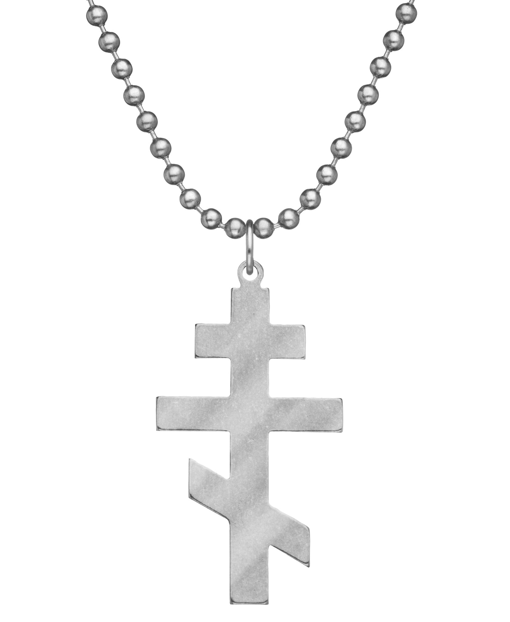 GI JEWELRY Military Issue Stainless Steel Orthodox Cross Necklace