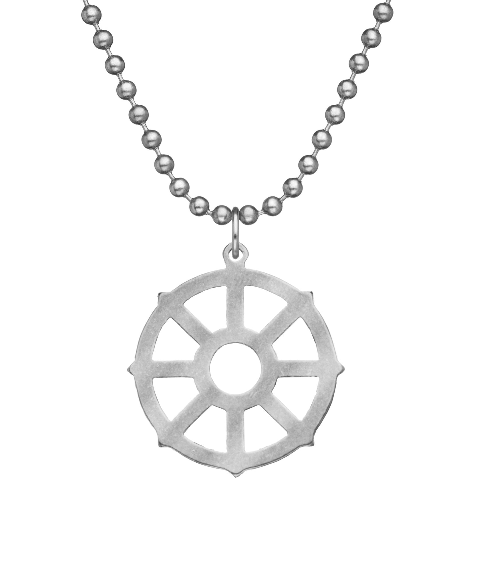 GI JEWELRY Military Issue Stainless Steel Wheel of Life Necklace