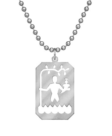 GI JEWELRY Military Issue Stainless Steel St. Christopher Necklace