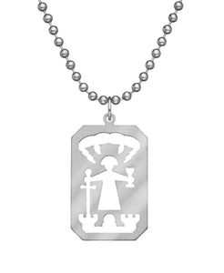 GI JEWELRY Military Issue Stainless Steel Saint Barbara Necklace