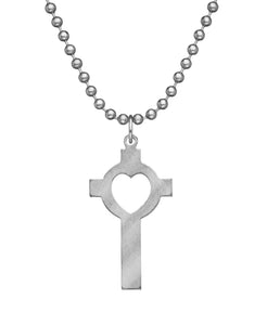GI JEWELRY Military Issue Stainless Steel Lutheran Cross Necklace