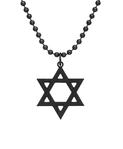 GI JEWELRY Military Issue Stainless Steel Star of David Necklace - Black