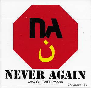 GI JEWELRY Never Again Nazarene Sticker
