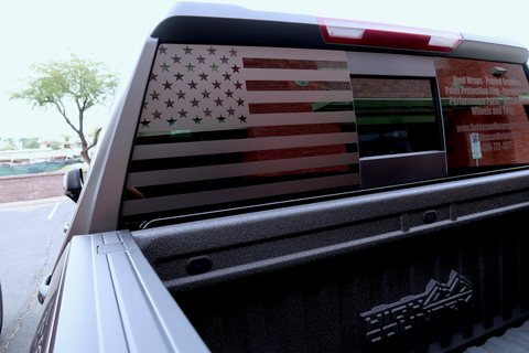 American Flag Rear Window Decal [For 19+ Silverado/Sierra] - Rakkasan Motorsports