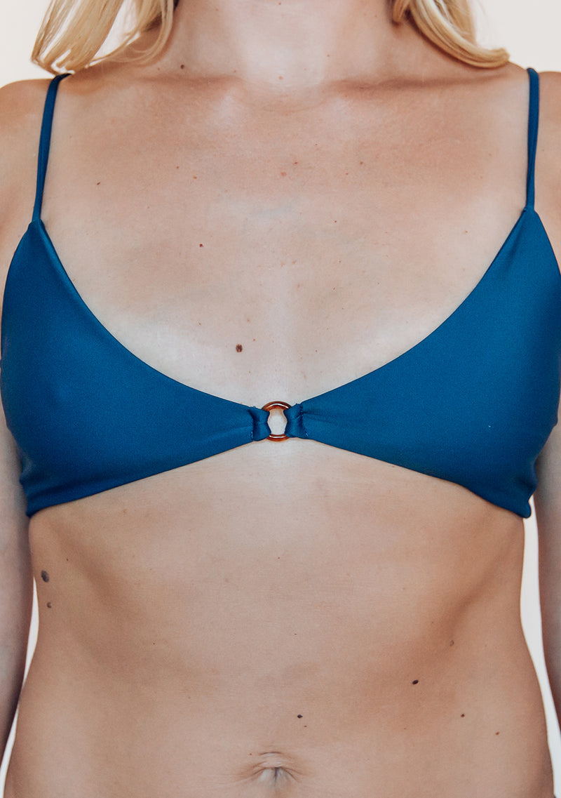 Simple triangle swim top with fixed straps and ring detail.