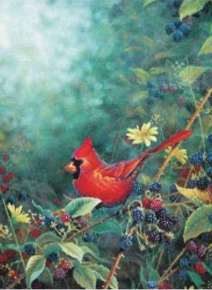 Cardinal with Berries Garden Flag, #FS64