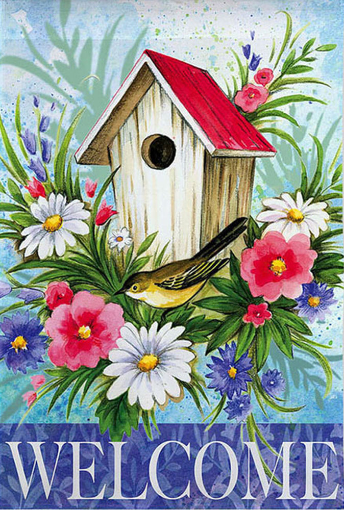 Birdhouse Welcome Garden Flag,  #141612