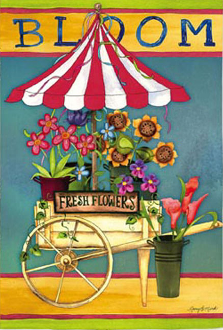 Bloom Flower Cart Garden Flag,  #141889