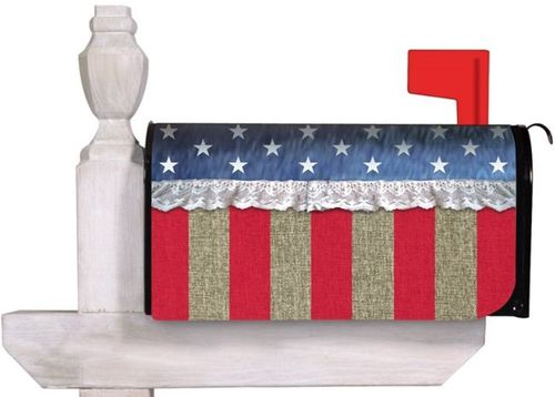 Burlap Patriotic Star and Stripe Standard Size Mailbox Cover, #56505