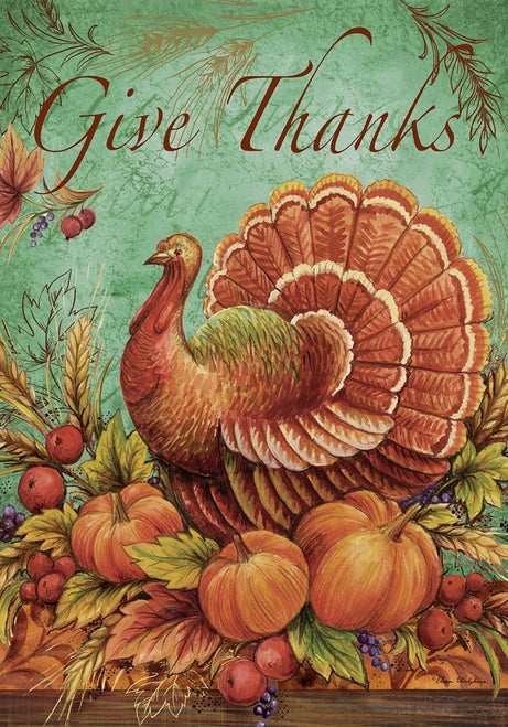 Give Thanks Turkey Garden Flag, #G00053