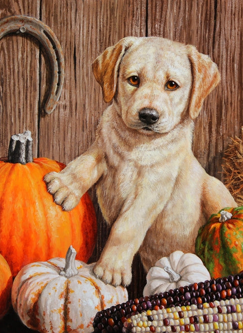Pumpkin Harvest Puppy Garden Flag, #G00077