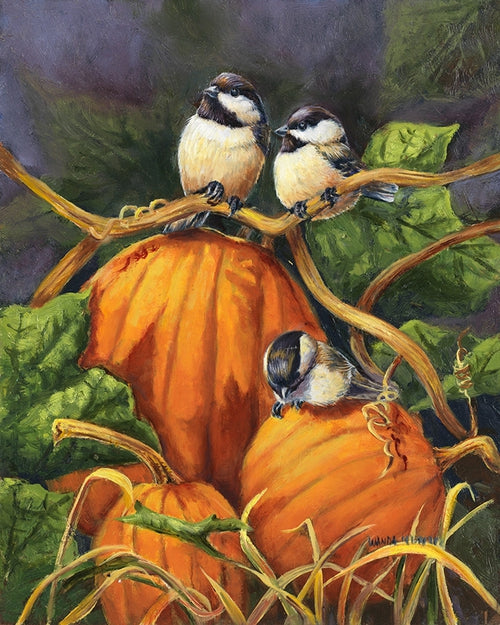 Chickadees And Pumpkins House Flag,  #H00080
