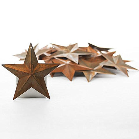 Package of 50 Rusted Tin Dimensional Miniature Barn Stars with Hole and Hollow Backs