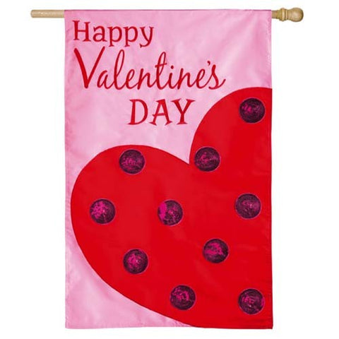 Polka Dot Heart Applique House Flag,  #158376