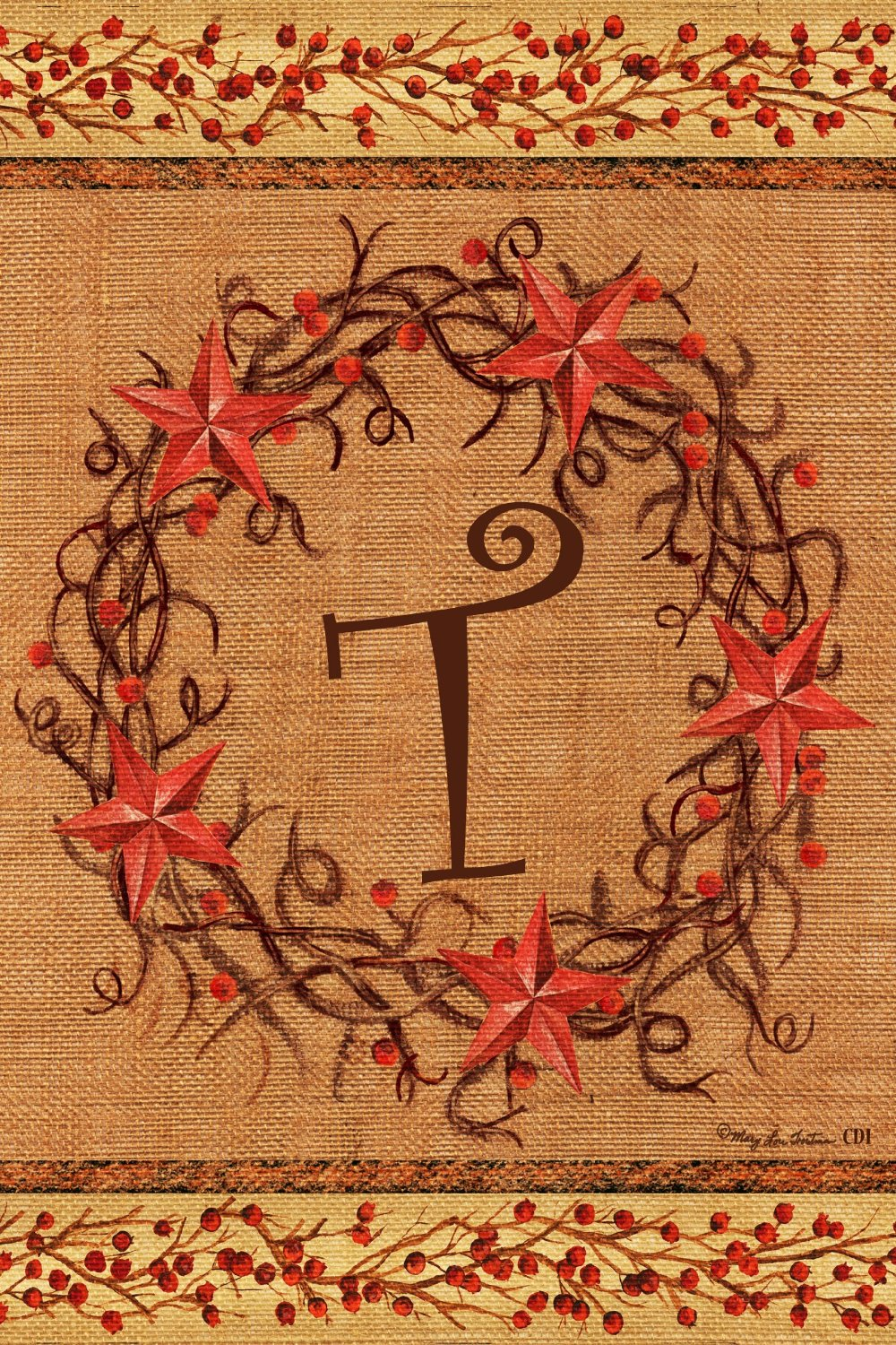 "Star Wreath Monogram ""T"" Garden Flag, #2070FM"