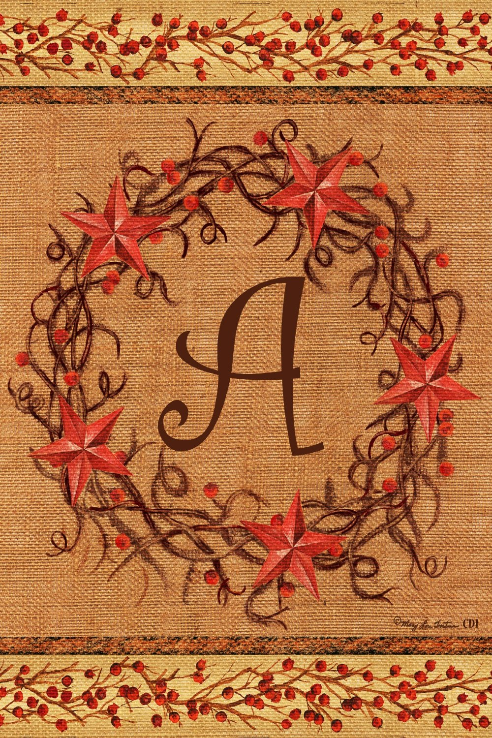 "Star Wreath Monogram ""A"" Garden Flag, #2054FM"