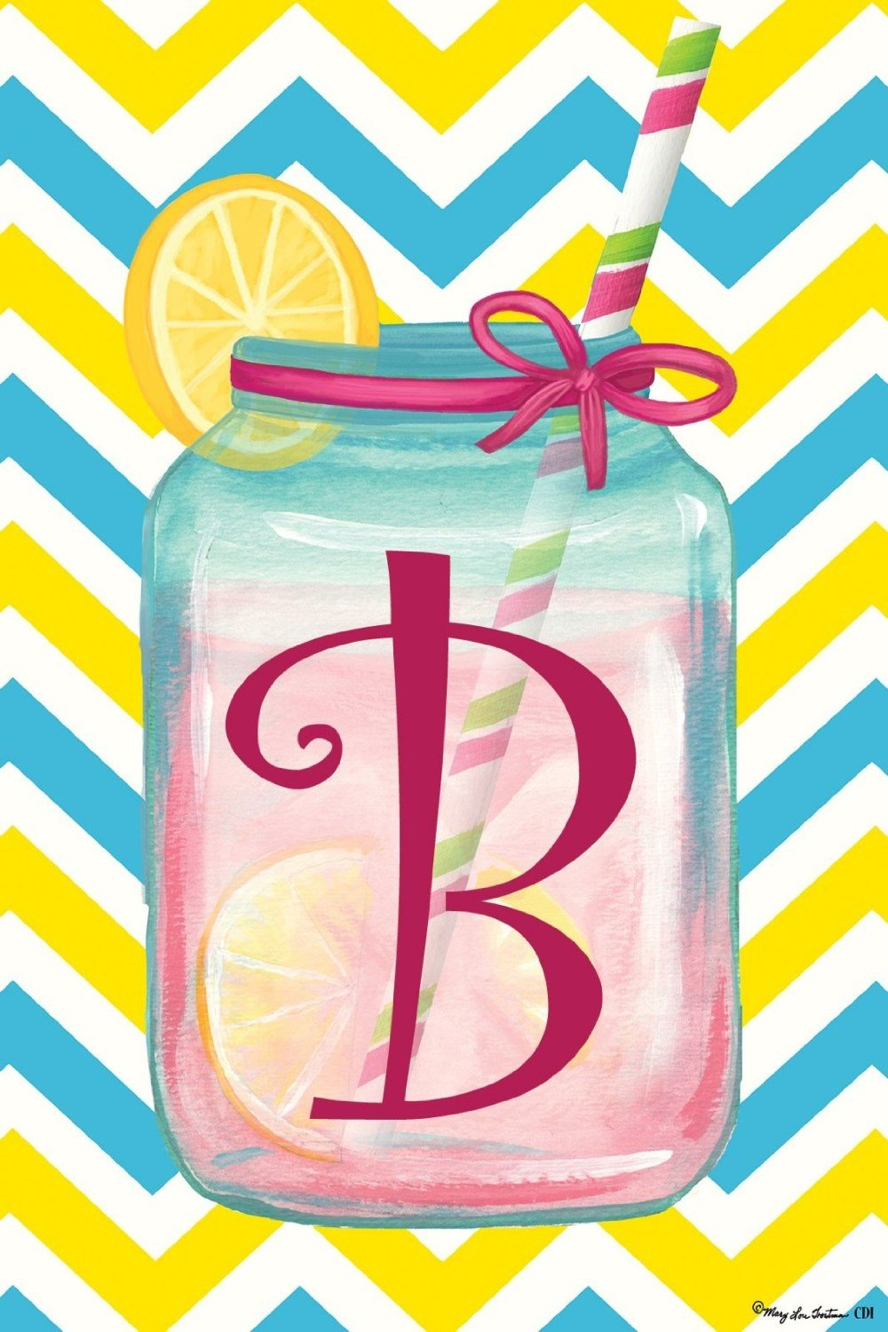 "Chevron Jar Monogram ""B"" Garden Flag, #2413FM"