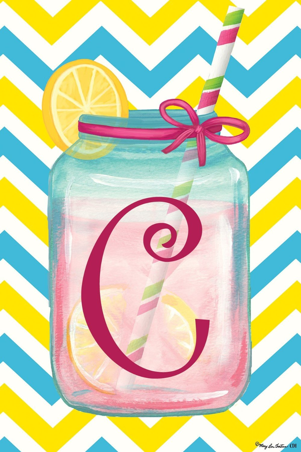 "Chevron Jar Monogram ""C"" Garden Flag, #2414FM"