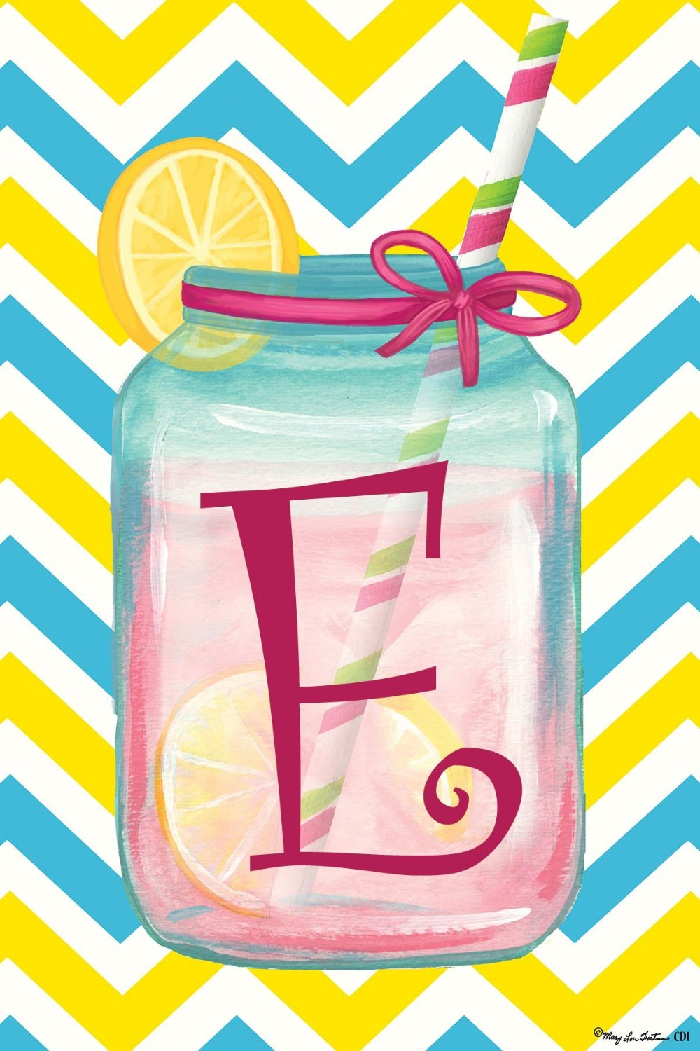 "Chevron Jar Monogram ""E"" Garden Flag, #2416FM"