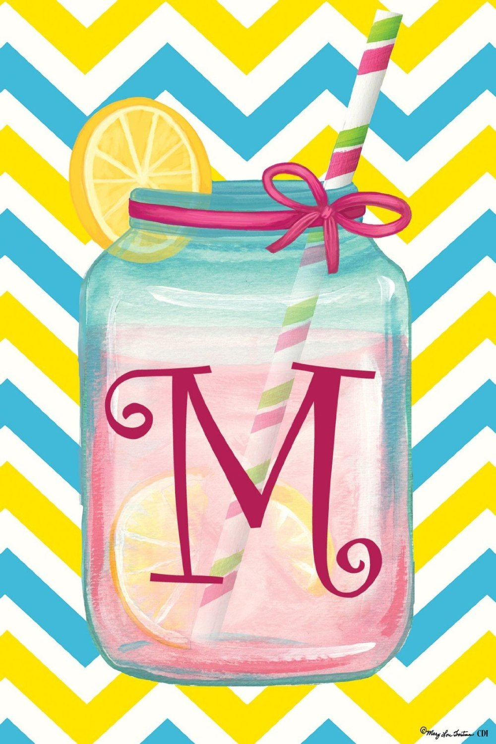 "Chevron Jar Monogram ""M"" Garden Flag, #2423FM"