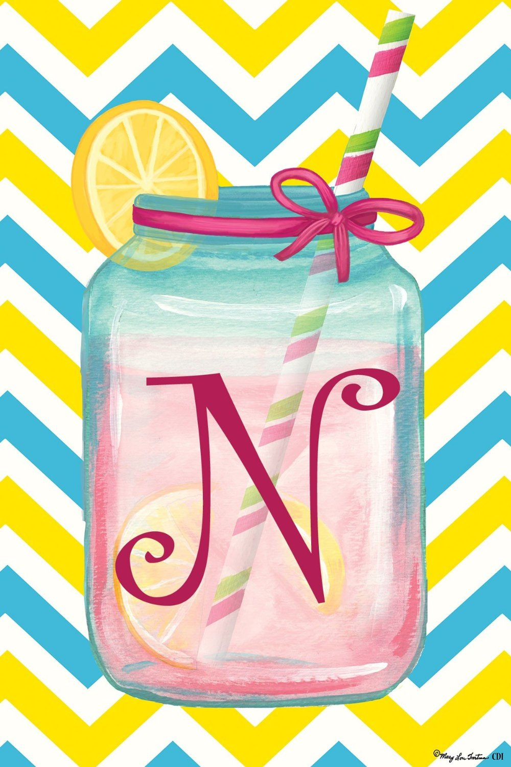"Chevron Jar Monogram ""N"" Garden Flag, #2424FM"