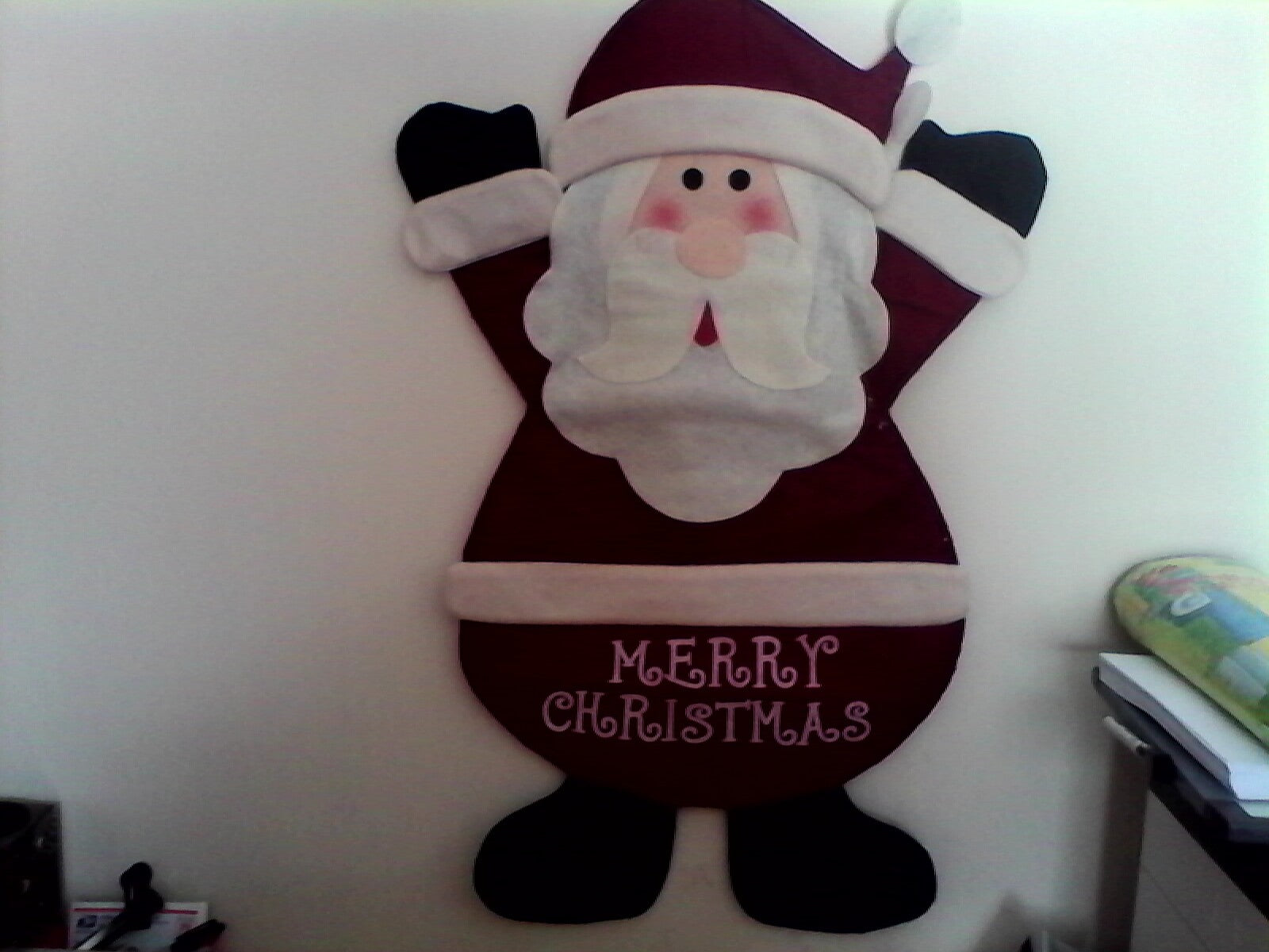 "32"" Tall Flat Felt Cloth Santa Wall Decor."