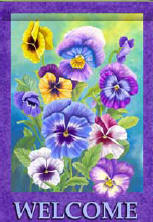 Pansy Welcome House Flag, #0600FL