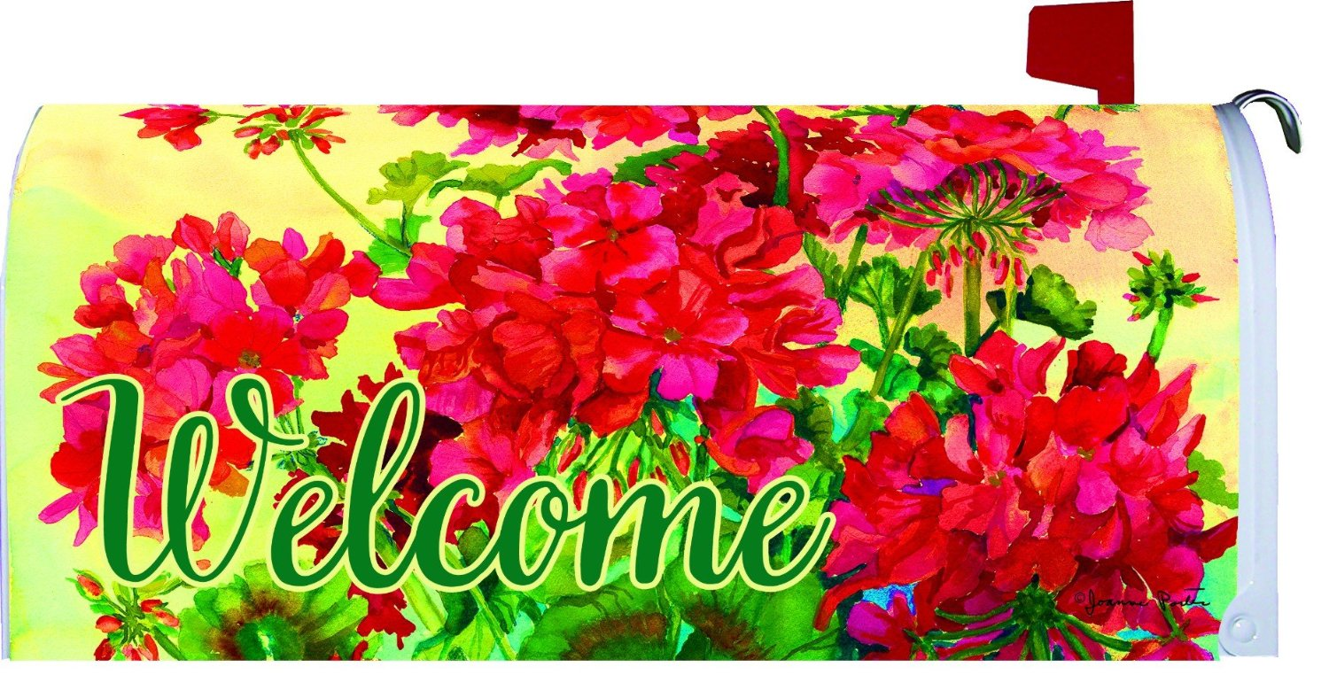 Welcome Geraniums Large Mailbox Cover, #2675ML