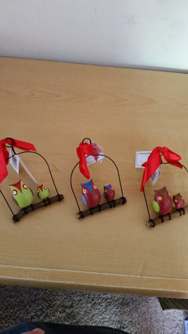Owl On A Swing Ornaments, Set of 3