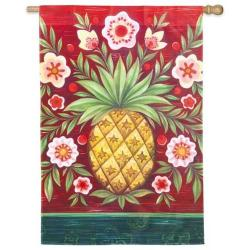 Pineapple and Flowers House Flag, #131621