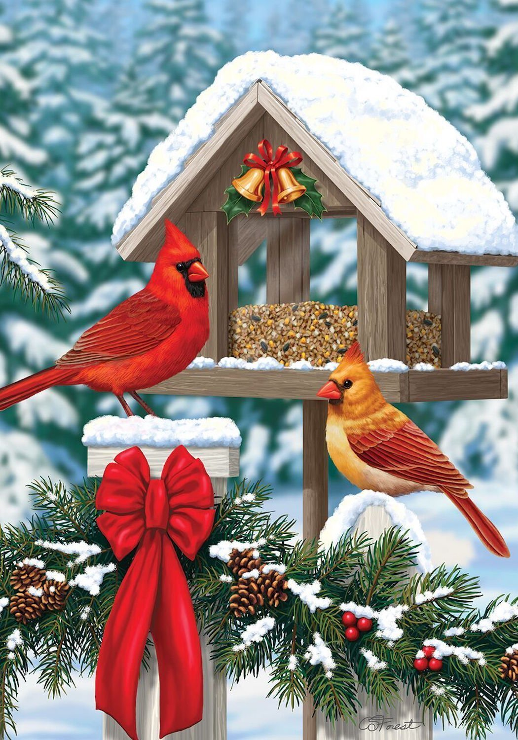 Cardinals Christmas Feast Garden Flag, # G00201