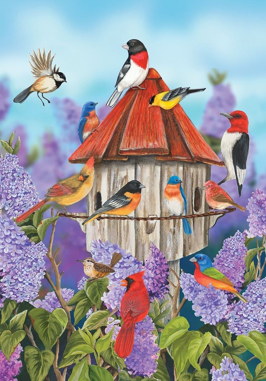 Birds and Lilacs Garden Flag, #G00343