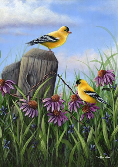 Goldfinch Gathering Garden Flag, #G00033