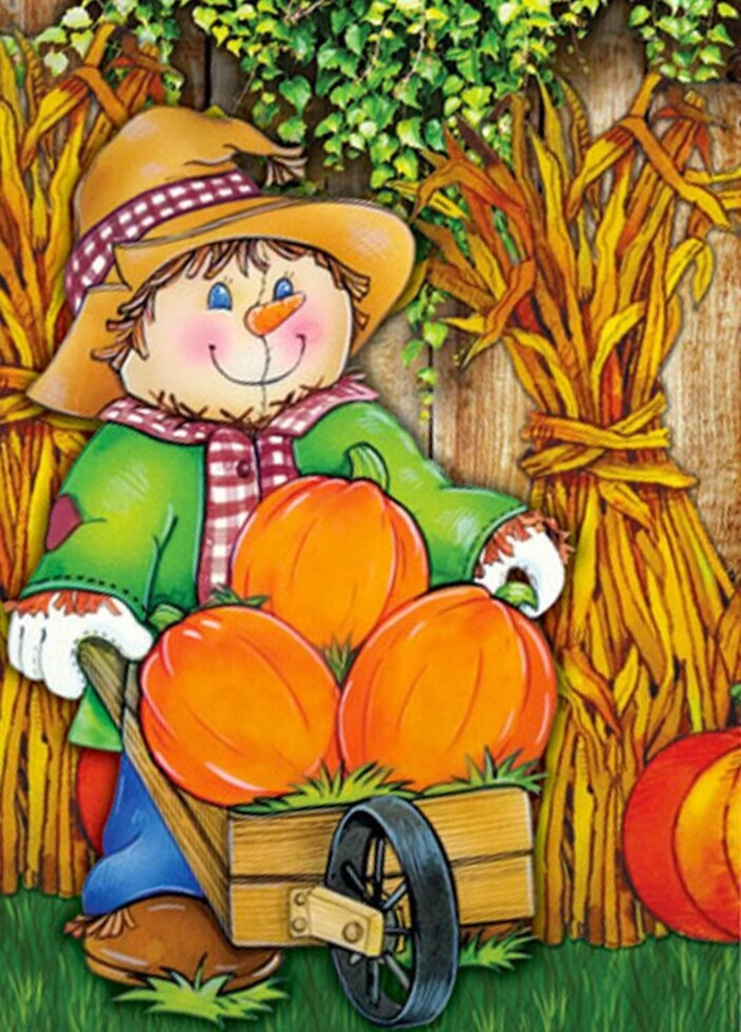 Scarecrow and Pumpkins Garden Flag,  #G00569