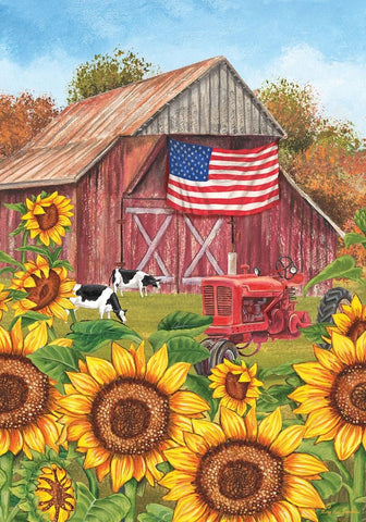 Sunflower Barn Garden Flag, #G00483
