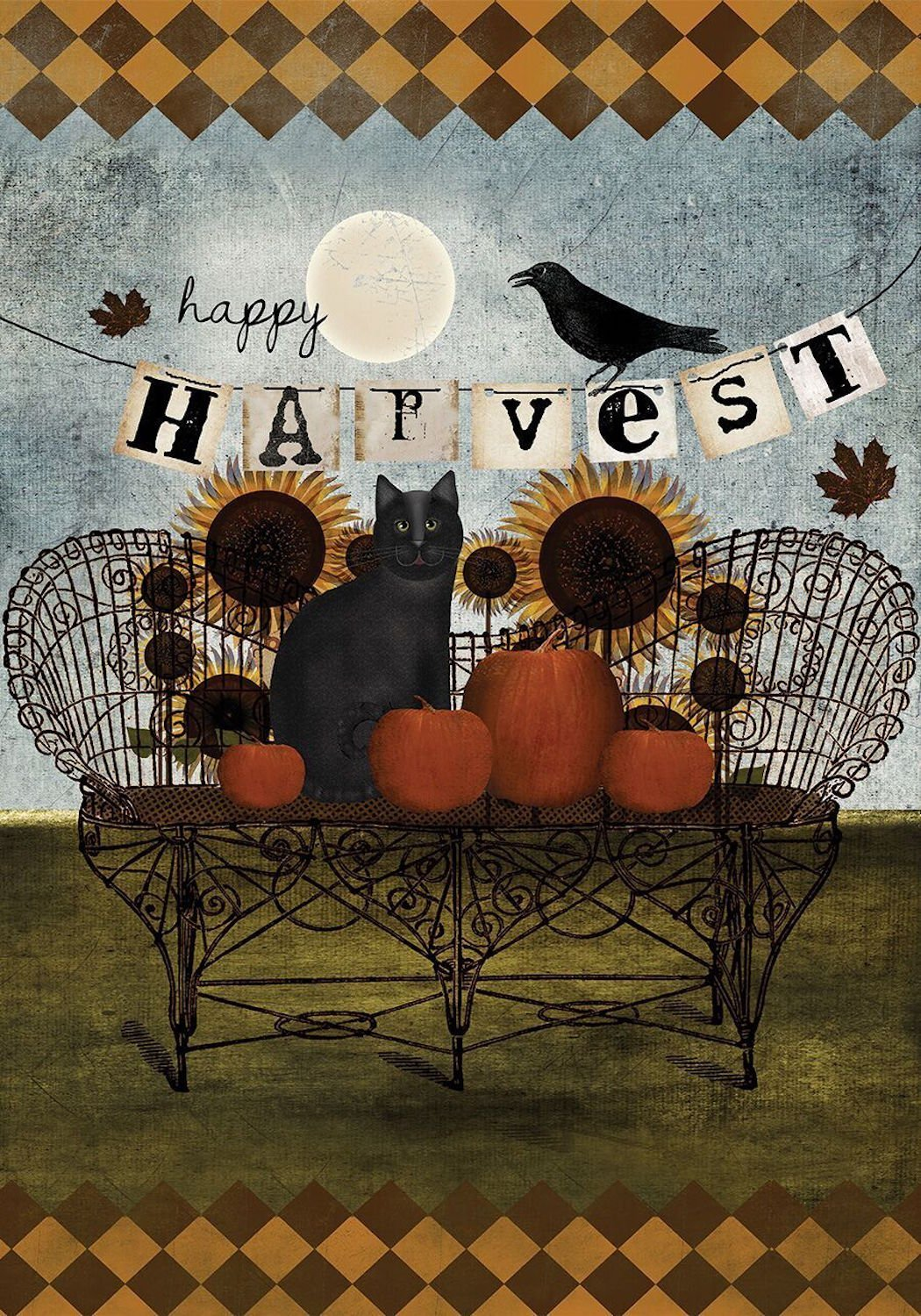 Happy Harvest House Flag, #H00184
