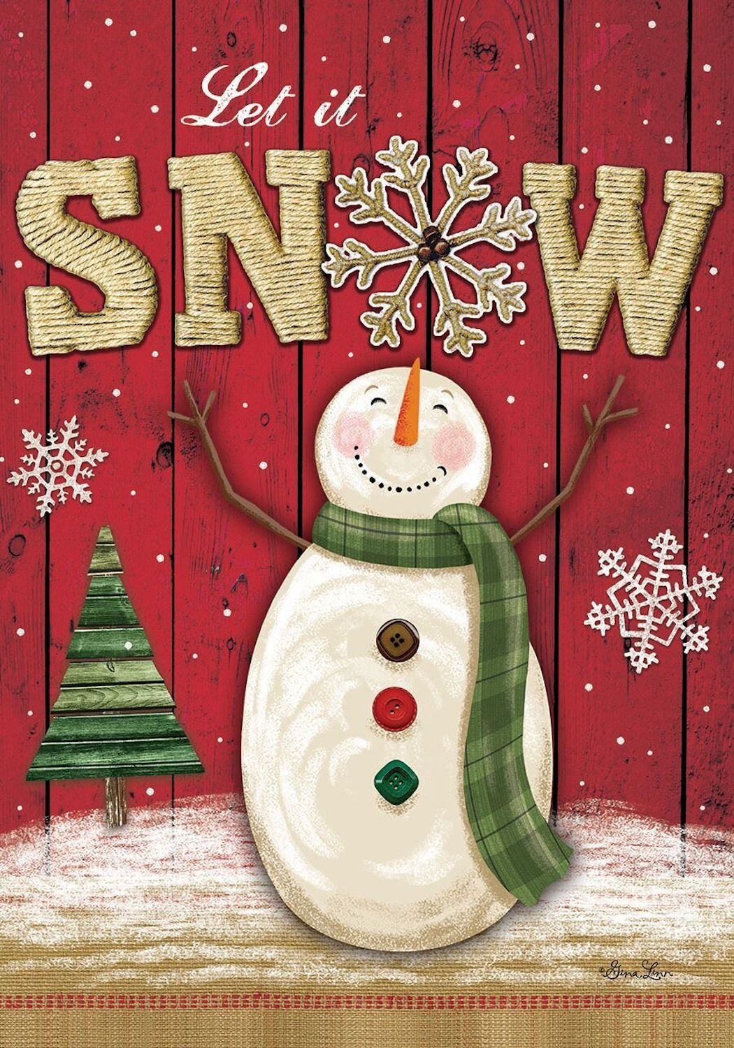 Let It Snow Snowman Garden Flag,  #G00527