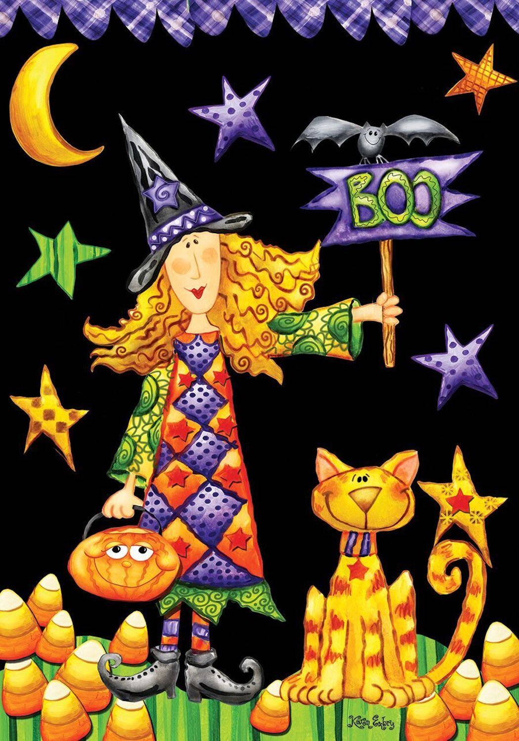 Boo Witch Primitive Garden Flag,  #G00241