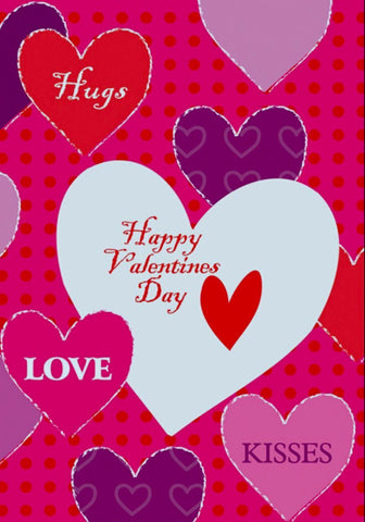 Hugs & Kisses Valentines Day House Flag,  # H00264