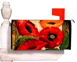 Ruby Poppy Standard Size Mailbox Cover, #56387