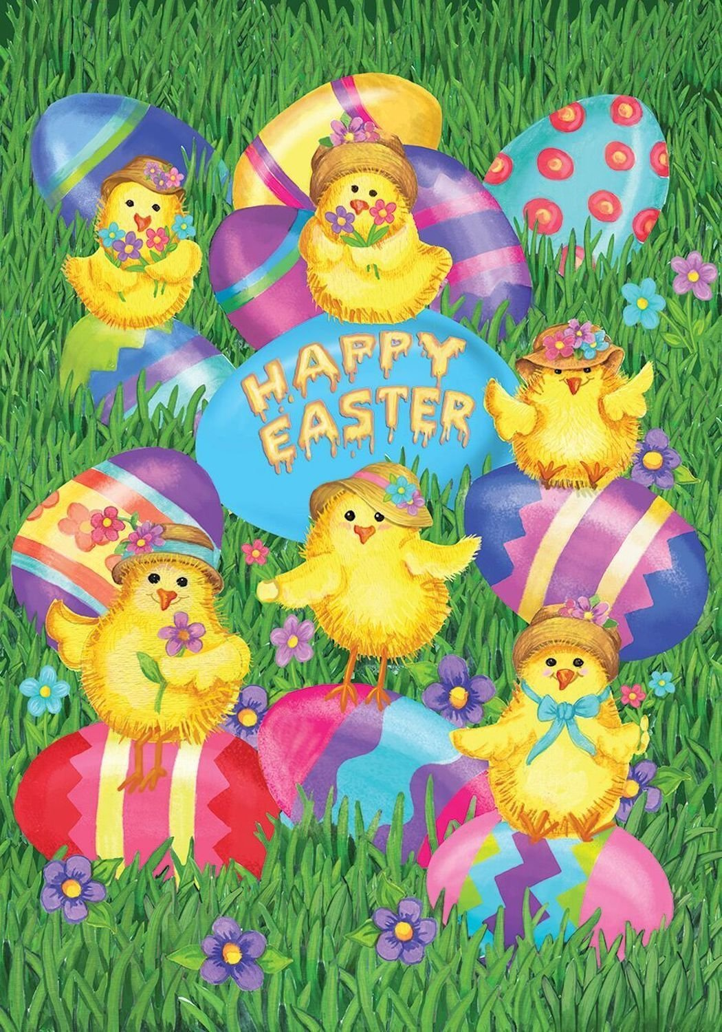 Happy Easter Chicks Garden Flag,  #G00310