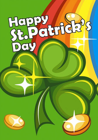 Happy St. Patrick's Day Rainbow Garden Flag,  #G00270