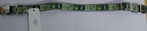 12 Inch Nylon Dog Collar, Light Blue and Green