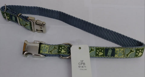 18 Inch Nylon Dog Collar, Light Blue and Green